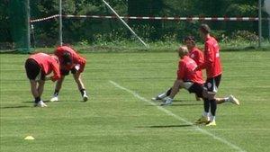 L'équipe de Suisse de football à Macolin