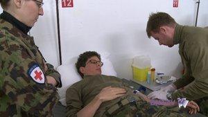 Un bataillon sous l'hôpital Pourtalès